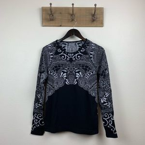 Athleta Black Tattoo Long Sleeve Workout Top